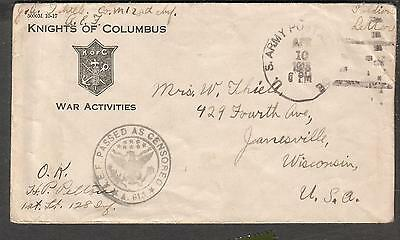 1918 WWI AEF censor cover Knights of Columbus War Activities cover JS Thiele