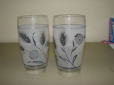 vtg Libbey Silver Wheat 2 TUMBLERS Glasses Frosted Libby curved sides