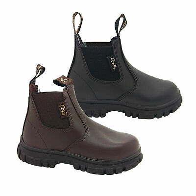Toddler Boots Grosby Ranch Black Or Brown Leather Pull on Boot Size 4-12