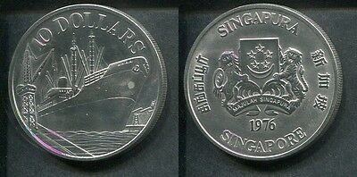 SINGAPORE 1976 - 10 Dollars in Silber (31,1g), stgl.! FRACHTSCHIFF