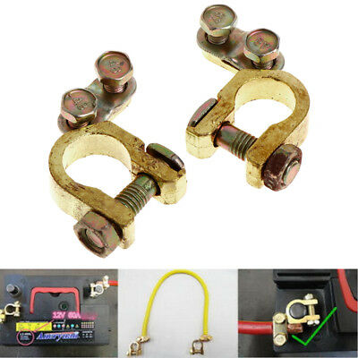 2Pcs Hi-Q Replacement Auto Car Battery Terminal Clamp Clips Brass Connector Hot