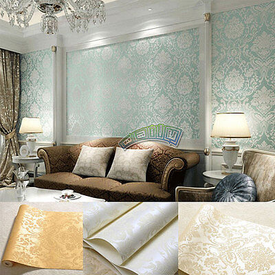 10M Embossed Damask Feature Non-woven Wallpaper Roll Bedroom Drawing Room Decor