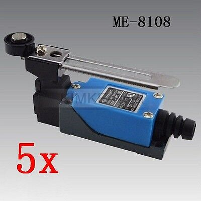5x Momentary Rotary Adjustable Roller Lever Micro Limit Switch ME-8108 New