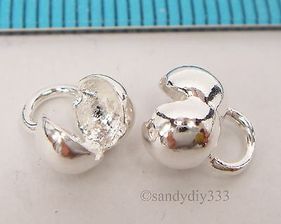 4x STERLING SILVER BRIGHT CRIMP BEAD COVER 5.4mm CONNECTOR END BEAD  N645