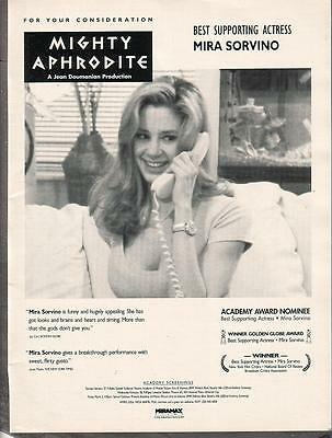 Mira Sorvino 1996 Ad- Mighty Aphrodite best supporting actress consideration