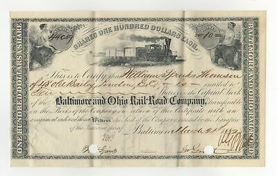 1882 Baltimore and Ohio Rail-Road Company - MARYLAND Stock Certificate w/ TRAIN