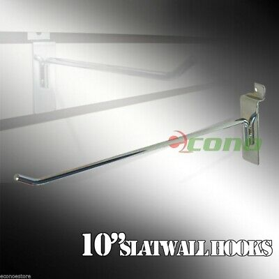 100 Pc Heavy duty steel 10''  Long Slatwall Hooks Shelf Hanger
