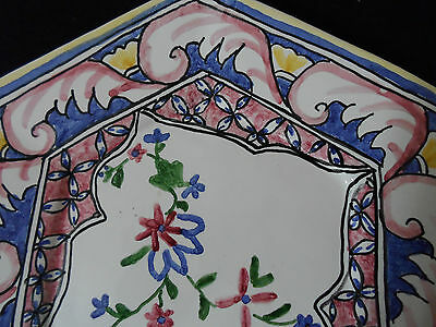 6 Sided Portugal Plate - Hand Painted - Pink Blue Yellow Red - Made in Portugal