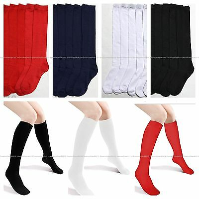 3 6 12 Pair Knee High Uniform School Socks Women Girls White Black 9-11 6-8 Lot