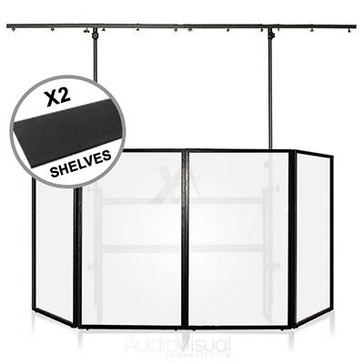 Gorilla Pro Mobile DJ 4ft Disco Stand Rig Lighting Booth Screen inc 2x Shelves