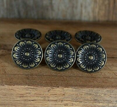 Set Of 6 Cast Iron Dark Wood Tone  Flowers 3 Cm. Cabinet  Handle Door Cupboard