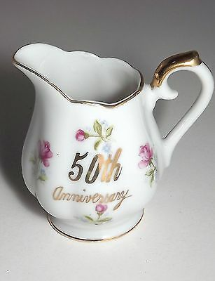 Vintage Miniature NORCREST Fine China 50th Anniversary Floral Creamer L-243