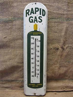 HUGE Vintage Metal Rapid Gas Thermometer > Antique Welding Bottle Iowa Sign 9121