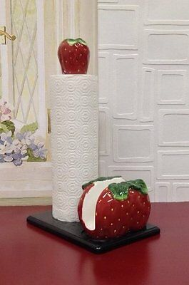 """Tuscany 3-D Strawberry Towel & Napkin Holder 17""""H  83577 By ACK"""