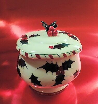 Lefton HOLLY BERRY CANDY CANE Covered Candy Dish #038, 1955