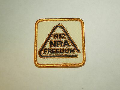 Vintage 1982 NRA Freedom Iron On Patch - Gold Flames Around Logo
