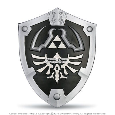 Black Dark Master Legend of Zelda Foam Shield w/ Strap Link Hylian LARP Anime