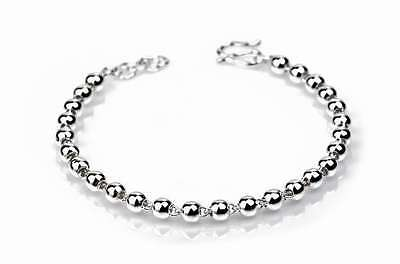 "Shiny Round Beads Stamped .925 Sterling Silver 7"" Bracelet Bangle Gift Ss1789"