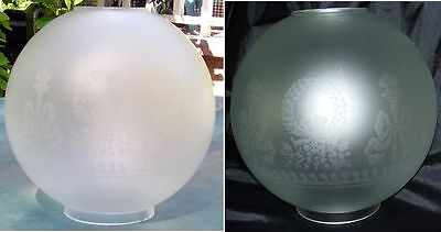 "8"" Bows & Wreaths BALL SHADE 4"" fitter etched glass fits old oil or banquet lamp"