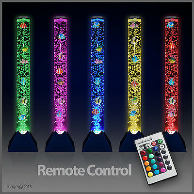 Remote Control Colour Changing LED Novelty Bubble Fish Water Tube Floor Lamp NEW
