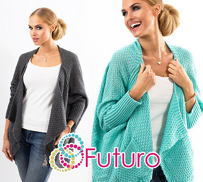 NEW Ladies Stunning Knitted Cardigan With Pockets Batwing Jacket Size 8-12 FAS18