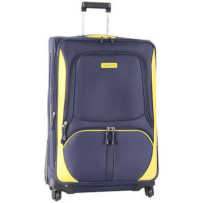 """NAUTICA DOWNHAUL SPINNER NAVY YELLOW 28"""" SUITCASE LUGGAGE $340 VALUE NEW"""