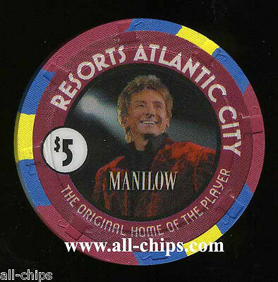 $5 Resorts Barry Manilow Atlantic City Casino Chip Uncirculated condition