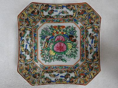 "Early antique Chinese Rose Medallion butterfly and flowers 7 1/8"" octagon plate"