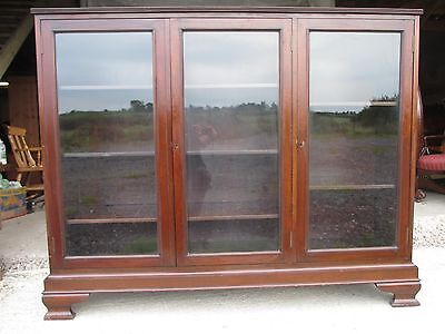Quality Edwardian Mahogany Glazed Door Adjustable Bookcase / Display Cabinet 408