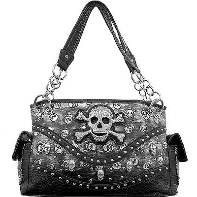 CONCEALED CARRY HANDBAG WITH RHINESTONE SKULL AND CROSSBONES
