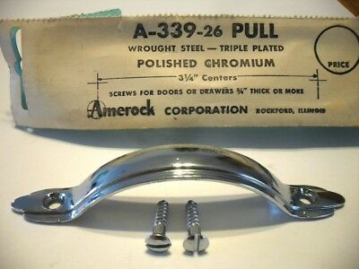 Vtg NOS CHROME Drawer Cabinet Door Strap Pull Raised Face Amerock Wrought Steel