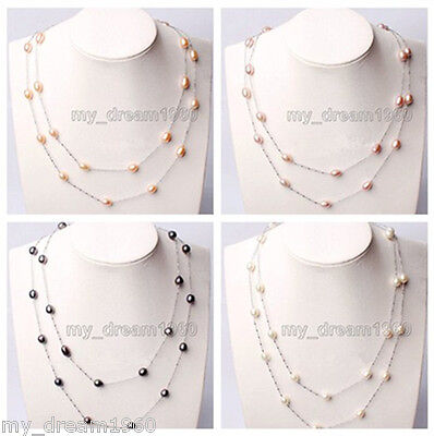 """45"""" Long Genuine 7-8mm NaturalFreshwater Pearl White Gilded Necklace Jewel"""