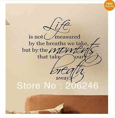 Life Is Not Measure By The Breaths We Take Wall Decals Letters Home Love Decor