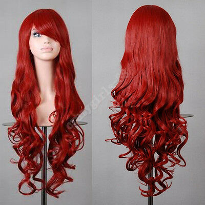 "Long Heat Resistant Big Spiral Curl Dark Red Cosplay Wig 32"" 80cm Free Shipping"