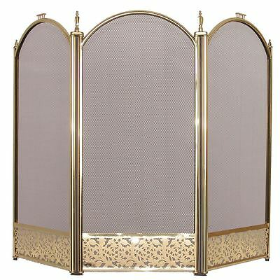 Fire Screen Brass 3 Panel Protector Cover Fireplace Shield New By Home Discount