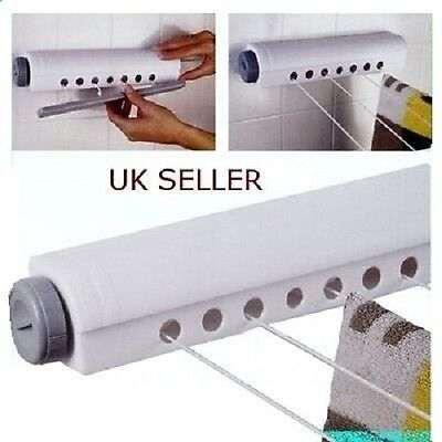 Wall Mounted Indoor Washing Clothes Laundry 4 line Airer Dryer Horse Retractable