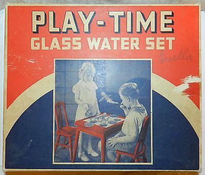 #1075 Vintage Akro Agate Playtime Glass Water Set No 112 In Box