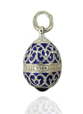 Authentic Russian Sterling Silver 925 Blue Enameled Egg Pendant Gift Boxed