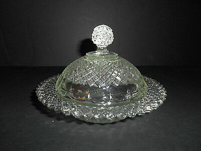 Crystal Miss America Round Butter with Cover by Anchor Hocking (Reproduction)