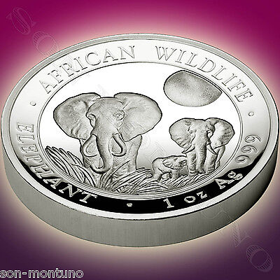 2014 Somalia HIGH RELIEF PROOF African Wildlife ELEPHANT 1 oz Silver Coin IN BOX