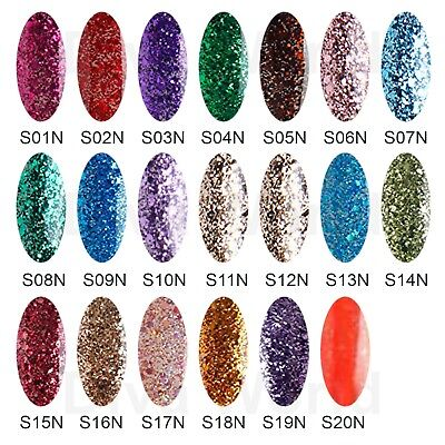Bluesky SN RANGE Silver Pink Gold Glitter UV LED Nail Gel Polish - 20 Colours