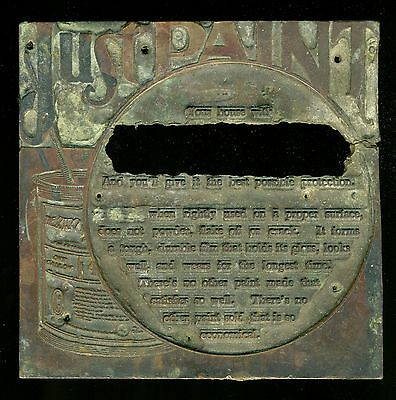 Antique Vintage Copper Printing Ad Advertisement Plate for Home Paint Painting
