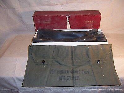 Vintage Bell System Telephone Company Lineman Canvas Glove Bag and Gloves