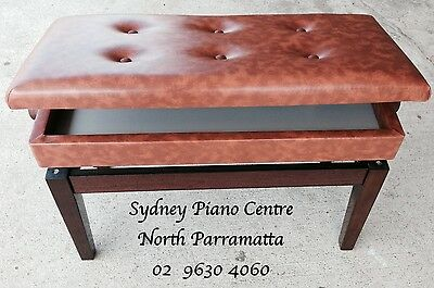 Brown Duet Adjustable Piano Stool with storage Brand New