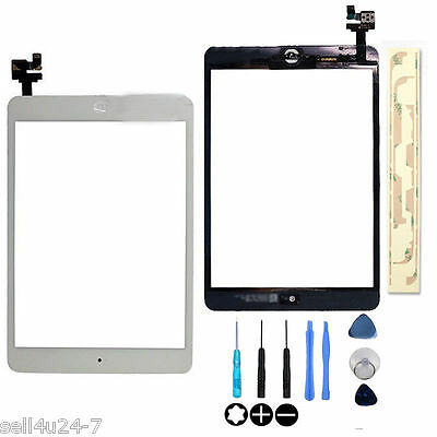 White Touch Glass Digitizer Screen + Home Button + IC Connector For iPad Mini