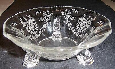 """Heisey Glass Crystal Orchid Etch  5 1/2"""" Mint Dish Dolphin Toed Ca 1940"""
