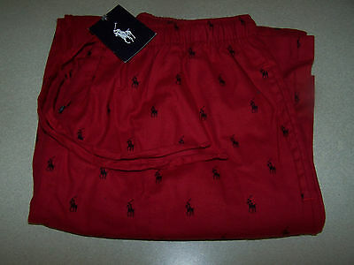 POLO RALPH LAUREN RED WITH BLACK PONYS LOUNGE PANTS SZ L NWT
