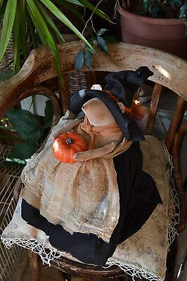 Witch mouse with a pumpkin. Handmade collectible toy.