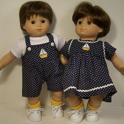 MATCHING SailBoat Dress & Overall Shorts Doll Clothes For Bitty Baby Twins DEBs