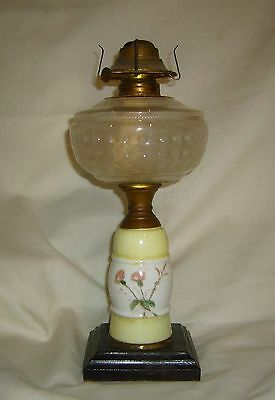 ANTIQUE EAPG INVERTED STAR ~ X BOX FONT HAND PAINTED MILK GLASS STAND OIL LAMP